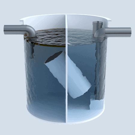 Separador de hidrocarburos con Obturador Automatico