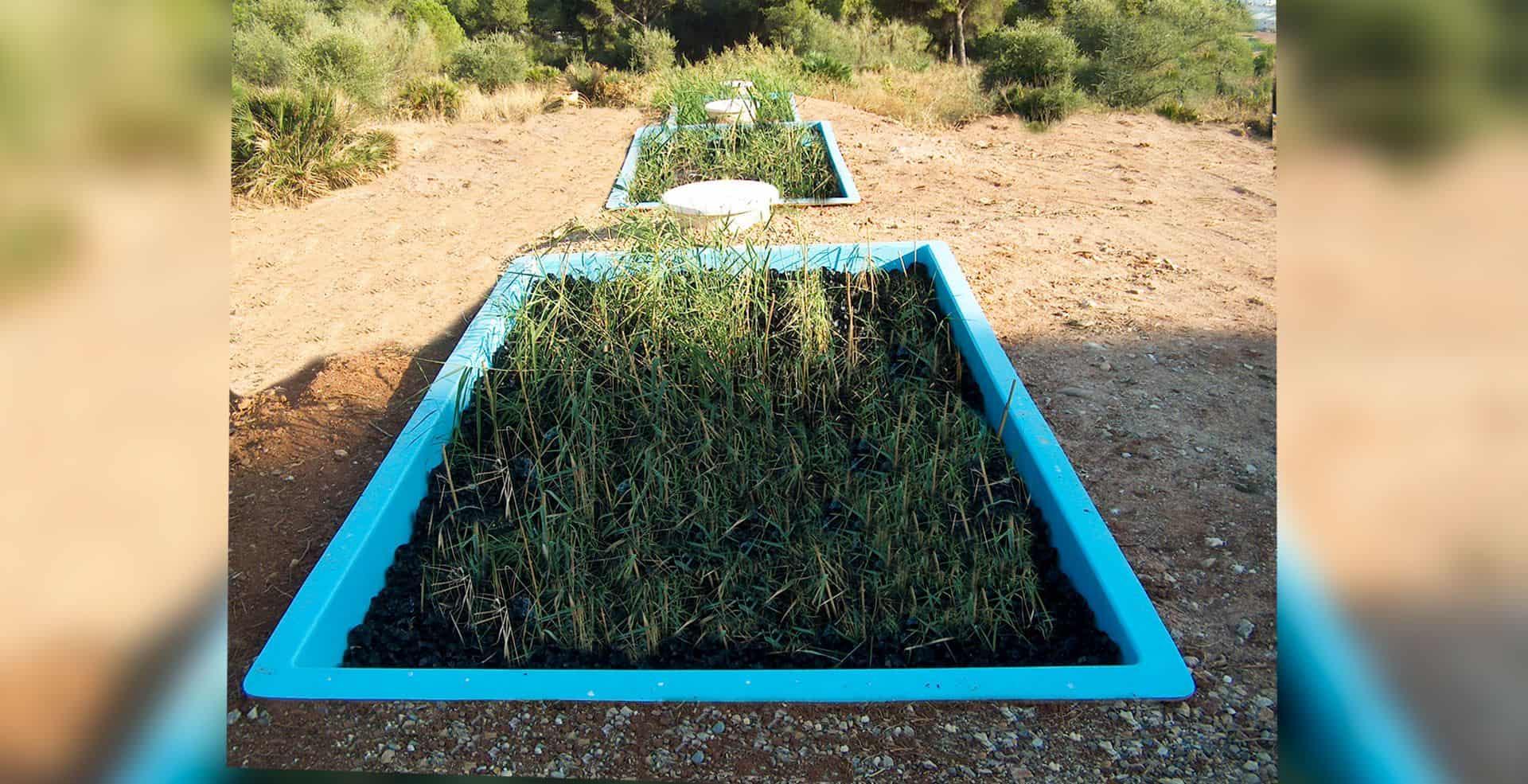 Fitodepuracion Flujo con material plástico de soporte